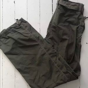 Army green cargo pants.  Size 2